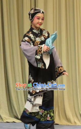 Chinese Ping Opera Woman Matchmaker Green Costumes and Headdress Zhen Zhu Shan Traditional Pingju Opera Pantaloon Dress Garment Apparels