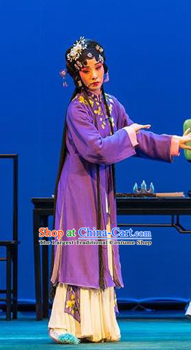 Chinese Ping Opera Young Female Apparels Costumes and Headpieces Liang Xiao Traditional Pingju Opera Distress Maiden Purple Dress Garment