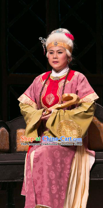 Chinese Huangmei Opera Royal Dame Jia Garment Costumes and Headpieces Traditional Anhui Opera Dream of Red Mansions Dowager Countess Dress Pantaloon Apparels