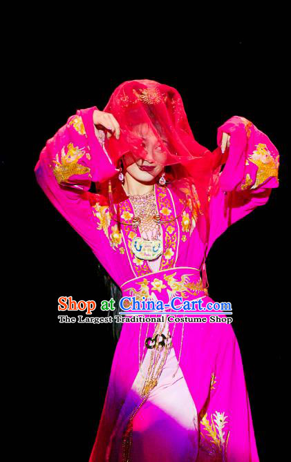 Chinese Huangmei Opera Young Lady Garment Costumes and Headpieces Traditional Anhui Opera Diva Dream of Red Mansions Xue Baochai Rosy Dress Apparels