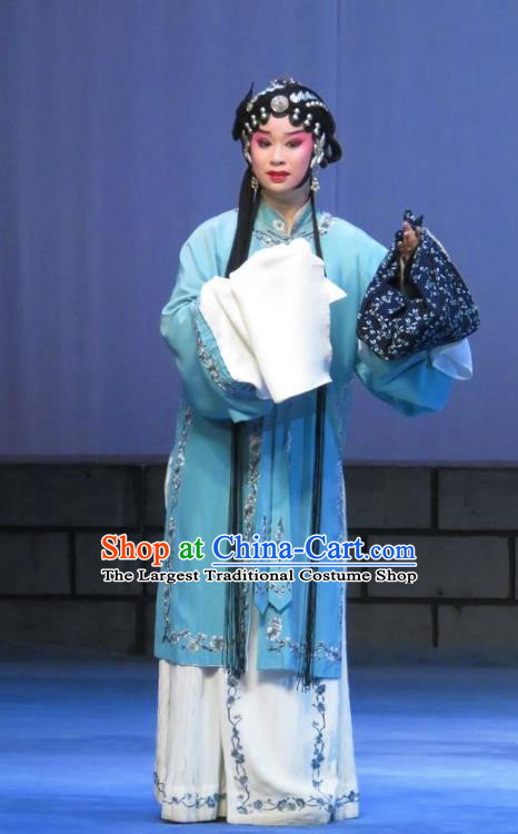 Chinese Ping Opera Yu Gong Case Young Lady Liu Cuiping Garment Costumes and Headdress Traditional Pingju Opera Distress Maiden Dress Apparels
