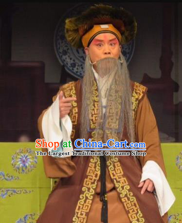Chinese Ping Opera Elderly Man Costumes and Headwear Yu Gong Case Pingju Opera Laosheng Apparels Clothing