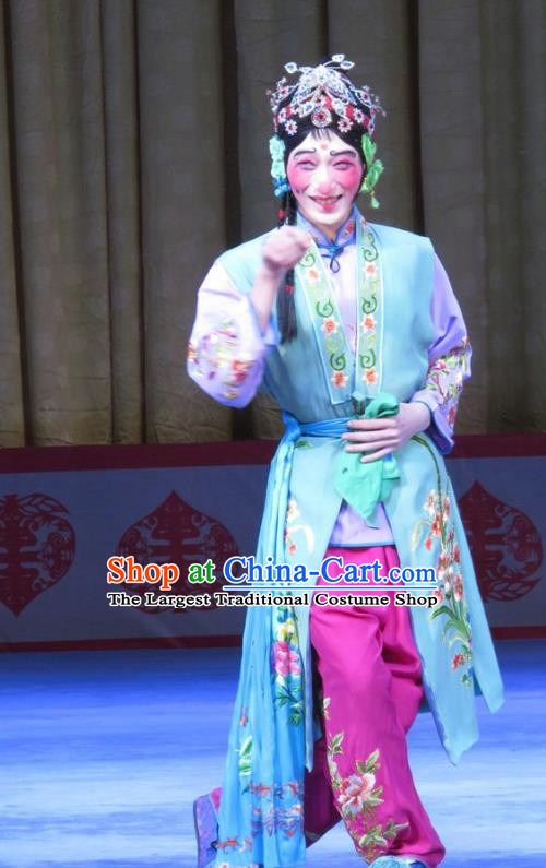 Chinese Ping Opera Clown Female Garment Costumes and Headdress Jie Nv Qiao Pei Traditional Pingju Opera Ugly Woman Dress Apparels