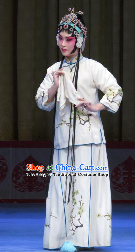 Chinese Ping Opera Hua Tan Garment Costumes and Headdress Jie Nv Qiao Pei Traditional Pingju Opera Actress Li Fengying White Dress Apparels