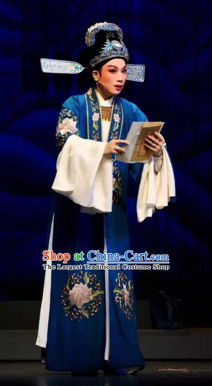 Chinese Yue Opera Xiao Sheng Scholar Apparels The Story of Hairpin Wang Shipeng Garment and Headwear Shaoxing Opera Costumes