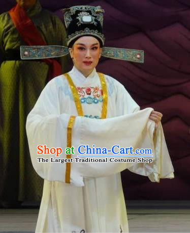 Chinese Yue Opera Young Male Scholar Apparels The Story of Hairpin Wang Shipeng Garment Shaoxing Opera Niche Costumes and Hat