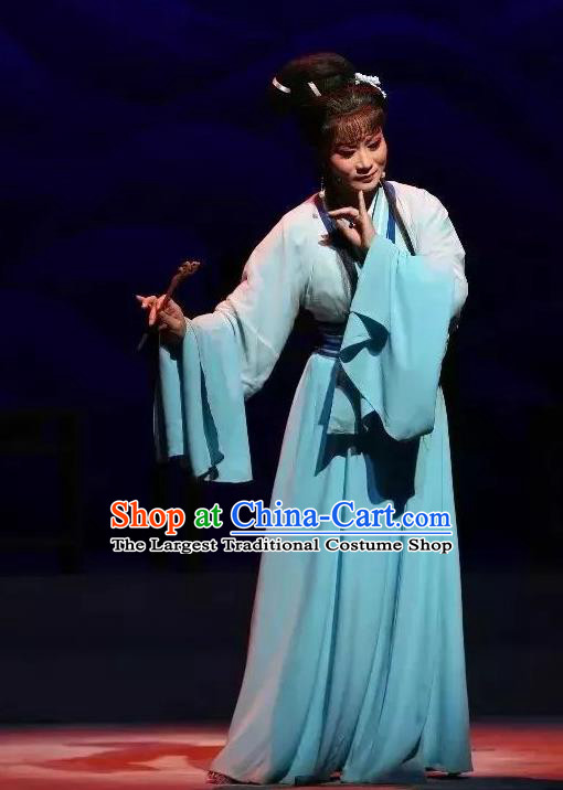 The Story of Hairpin Chinese Shaoxing Opera Woman Dress Apparels Yue Opera Costumes Civilian Female Qian Yulian Garment and Headpieces