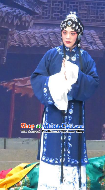 Chinese Ping Opera Tsing Yi Costumes Apparels and Headdress Bao Gong San Kan Butterfly Dream Traditional Pingju Opera Actress Blue Dress Garment
