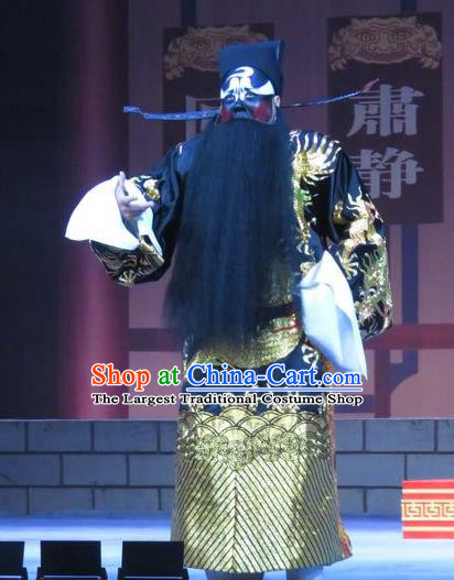 Chinese Ping Opera Official Bao Gong San Kan Butterfly Dream Costumes and Headwear Pingju Opera Elderly Male Apparels Clothing