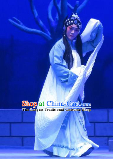 Chinese Ping Opera Distress Female Costumes Apparels and Headdress Bao Gong San Kan Butterfly Dream Traditional Pingju Opera Woman Dress Garment