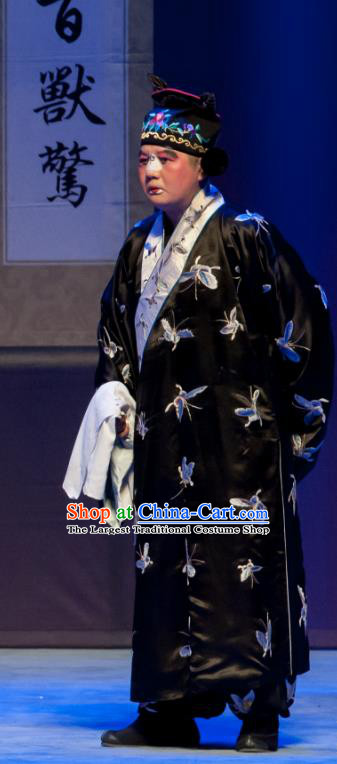 Chinese Ping Opera Clown Man Biao Bao Gong San Kan Butterfly Dream Costumes and Headwear Pingju Opera Chou Role Apparels Clothing