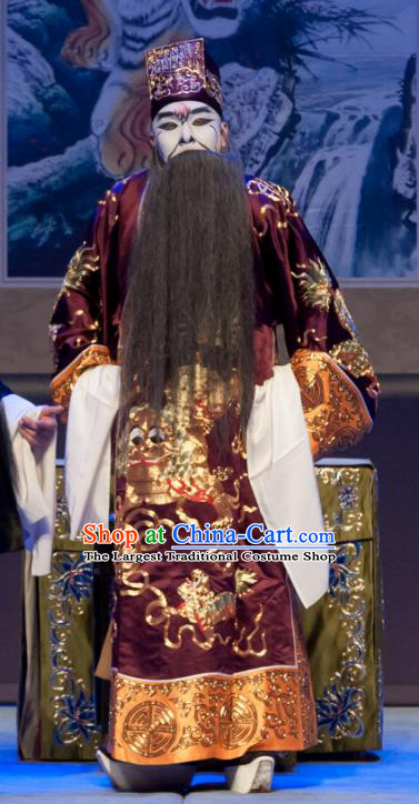 Chinese Ping Opera Treacherous Official Biao Bao Gong San Kan Butterfly Dream Costumes and Headwear Pingju Opera Laosheng Apparels Clothing