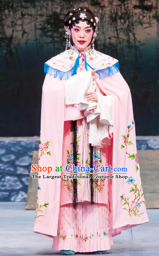 Chinese Ping Opera Hua Tan Pink Costumes Apparels and Headpieces Geng Niang Traditional Pingju Opera Young Female Dress Garment