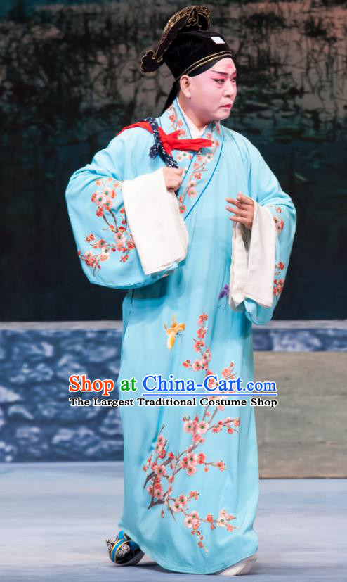 Geng Niang Chinese Ping Opera Scholar Jin Dayong Costumes and Headwear Pingju Opera Xiaosheng Young Man Blue Apparels Clothing