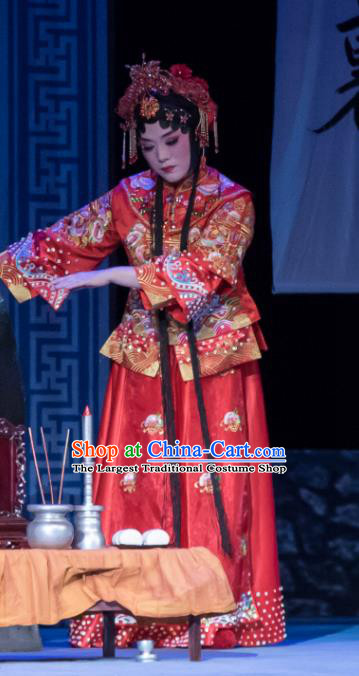 Chinese Ping Opera Bride Red Costumes Apparels and Headdress Geng Niang Traditional Pingju Opera Hua Tan Wedding Dress Garment