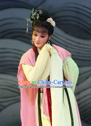Chinese Shaoxing Opera The Story of Hairpin Young Lady Qian Yulian Dress Apparels Costumes Yue Opera Actress Garment and Headpieces