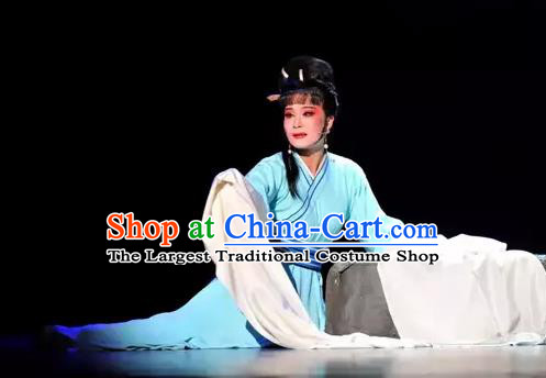 Chinese Shaoxing Opera Civilian Female The Story of Hairpin Qian Yulian Blue Dress Costumes Yue Opera Actress Apparels Garment and Hair Ornament