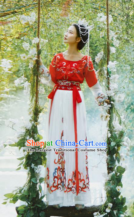 Chinese Traditional Tang Dynasty Court Maid Hanfu Dress Apparels Ancient Palace Lady Flying Apsaras Historical Costumes