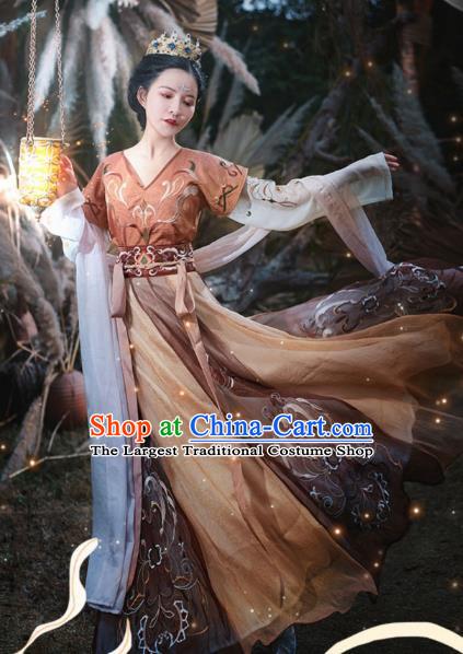 Chinese Ancient Flying Apsaras Goddess Hanfu Dress Traditional Tang Dynasty Court Lady Apparels Historical Costumes