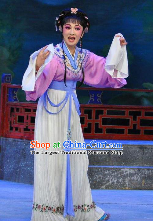 Chinese Shaoxing Opera Actress Dress Dream of the Red Chamber Yue Opera Costumes Apparels Maidservant Zi Juan Garment and Hair Jewelry