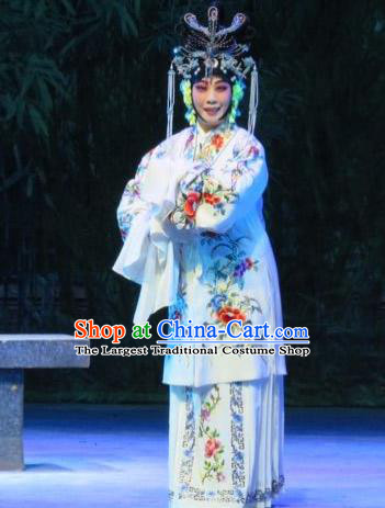 Chinese Ping Opera Xie Yaohuan Actress Apparels Costumes and Headpieces Traditional Pingju Opera Hua Tan White Dress Garment