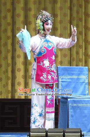 Chinese Ping Opera Young Girl Xiaodan Apparels Costumes and Headpieces Jin Yunu Traditional Pingju Opera Diva Dress Garment