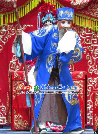 Jin Yunu Chinese Ping Opera Elderly Male Costumes and Headwear Pingju Opera Old Man Apparels Landlord Jin Song Clothing