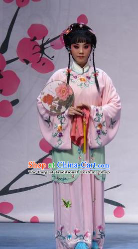 Chinese Ping Opera Actress Servant Girl Pink Costumes and Headpieces Xue Yu Bing Shuang Traditional Pingju Opera Young Lady Ai Yu Dress Garment Apparels