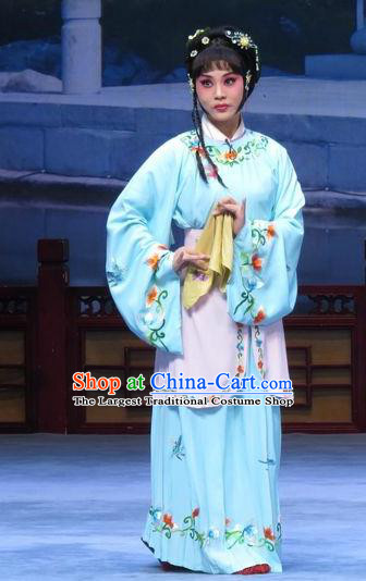 Chinese Ping Opera Actress Young Lady Ai Yu Costumes and Headpieces Xue Yu Bing Shuang Traditional Pingju Opera Dress Servant Girl Blue Garment Apparels