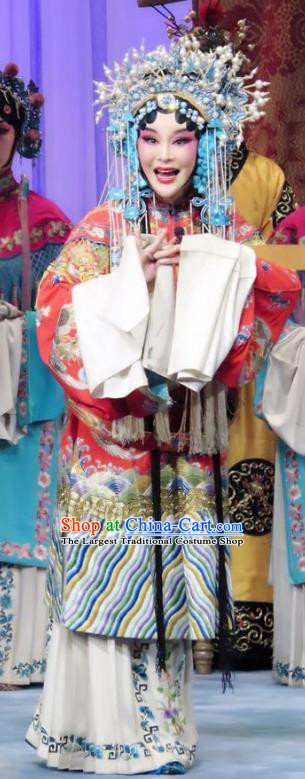 Chinese Ping Opera Actress Embroidered Robe Costumes Apparels and Headdress Qian Kun Belt Traditional Pingju Opera Princess Yinping Dress Garment