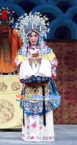 Chinese Ping Opera Hua Tan Embroidered Robe Costumes Apparels and Headdress Qian Kun Belt Traditional Pingju Opera Actress Dress Garment