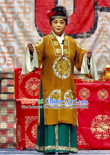 Chinese Ping Opera Dame Ke Costumes Yu He Qiao Apparels and Headpieces Traditional Pingju Opera Elderly Female Dress Pantaloon Garment