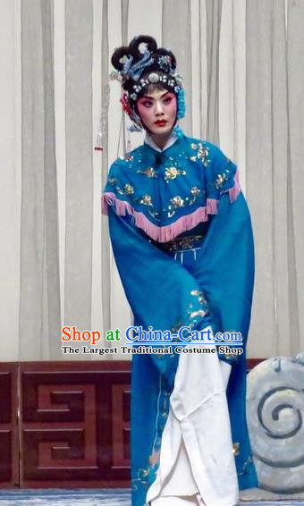 Chinese Ping Opera Hua Tan Costumes Yu He Qiao Apparels and Headpieces Traditional Pingju Opera Diva Ke Baozhu Blue Dress Garment