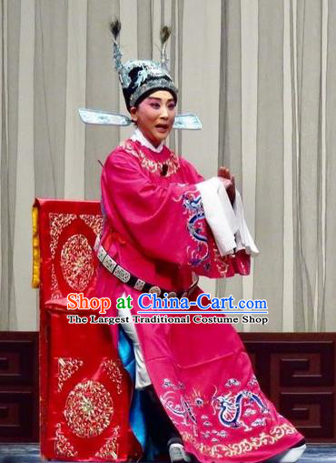 Yu He Qiao Chinese Ping Opera Xuan Dengao Costumes and Headwear Pingju Opera Young Male Apparels Clothing Number One Scholar Embroidered Robe