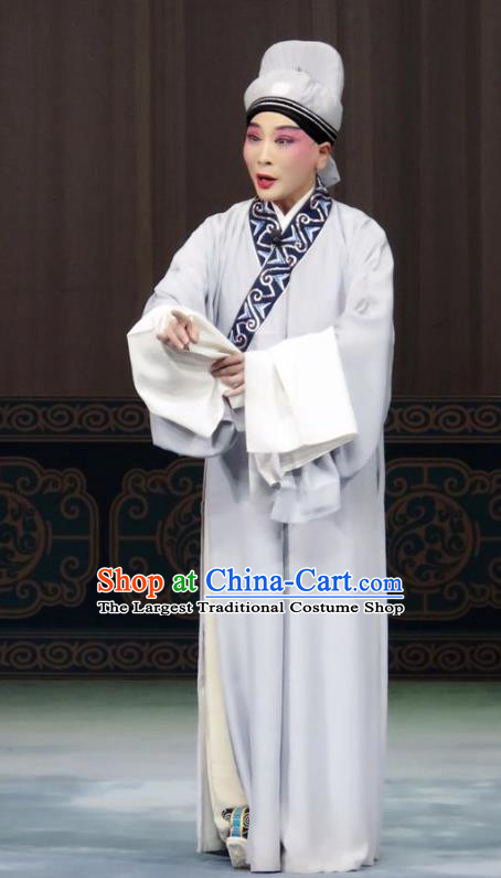 The Wrong Red Silk Chinese Ping Opera Young Man Costumes Pingju Opera Scholar Zhang Qiuren Apparels Clothing and Headwear