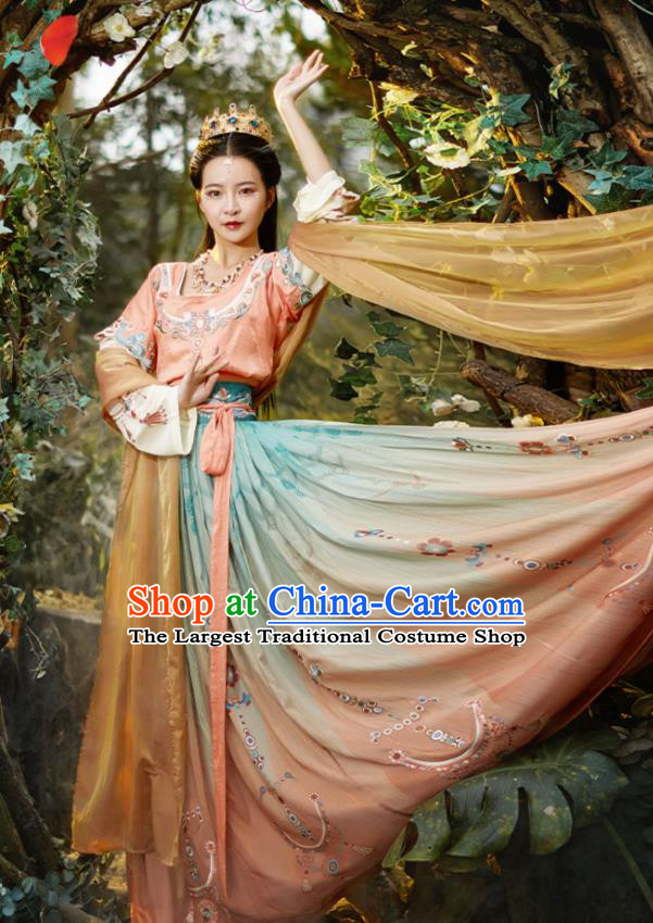 Chinese Traditional Flying Apsaras Dance Hanfu Dress Apparels Ancient Tang Dynasty Court Lady Historical Costumes for Women