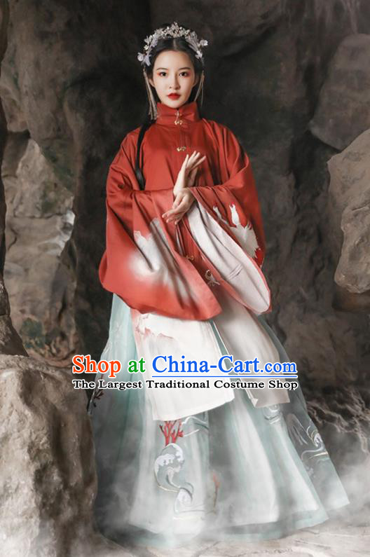 Traditional Chinese Ming Dynasty Royal Princess Hanfu Dress Ancient Noble Lady Apparels Embroidered Historical Costumes