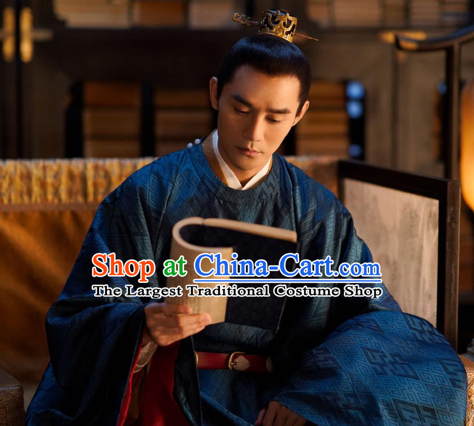 Traditional Chinese Ancient Emperor Historical Costumes Drama Serenade of Peaceful Joy Song Dynasty Renzong Zhao Zhen Garment and Hair Ornament