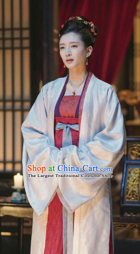 Chinese Ancient Imperial Empress Historical Costumes Drama Serenade of Peaceful Joy Song Dynasty Queen Cao Danshu Hanfu Dress and Headpieces