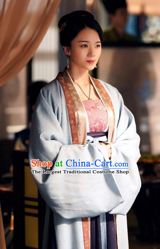 Chinese Ancient Court Maid Historical Costumes Drama Serenade of Peaceful Joy Song Dynasty Female Official Dress and Hair Accessories