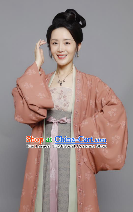 Chinese Ancient Hostess Historical Costumes Drama Serenade of Peaceful Joy Song Dynasty Civilian Female Dress Garment and Headwear