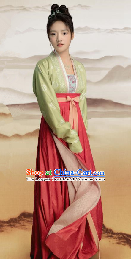 Chinese Ancient Royal Princess Historical Costumes and Headpieces Drama Serenade of Peaceful Joy Song Dynasty Infanta Zhao Huirou Dress Garment