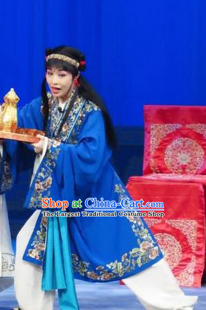 The Wrong Red Silk Chinese Ping Opera Young Servant Costumes Pingju Opera Livehand Apparels Clothing and Headwear