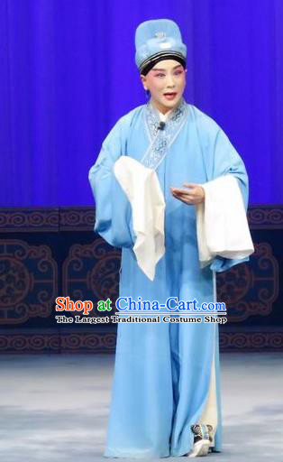 The Wrong Red Silk Chinese Ping Opera Niche Costumes Pingju Opera Young Male Apparels Scholar Zhang Qiuren Clothing and Hat