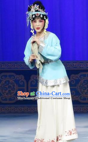 Chinese Ping Opera Young Lady Costumes The Wrong Red Silk Apparels and Headpieces Traditional Pingju Opera Hua Tan Dress Garment