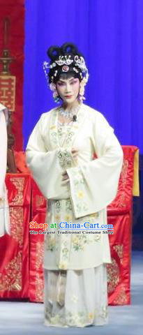 Chinese Ping Opera Actress Costumes The Wrong Red Silk Apparels and Headpieces Traditional Pingju Opera Hua Tan White Dress Garment
