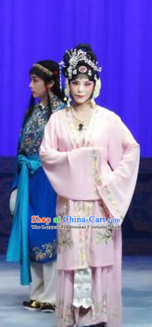 Chinese Ping Opera Diva Actress Costumes The Wrong Red Silk Apparels and Headpieces Traditional Pingju Opera Hua Tan Liu Hua Dress Garment