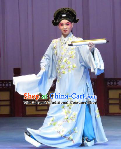 Flower a Matchmaker Chinese Ping Opera Xiaosheng Costumes Pingju Opera Young Male Apparels Scholar Wang Junqing Clothing and Hat
