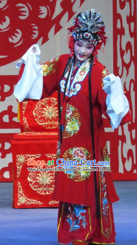 Chinese Ping Opera Bride Li Yue E Flower a Matchmaker Wedding Apparels Costumes and Headdress Traditional Pingju Opera Hua Tan Red Dress Garment