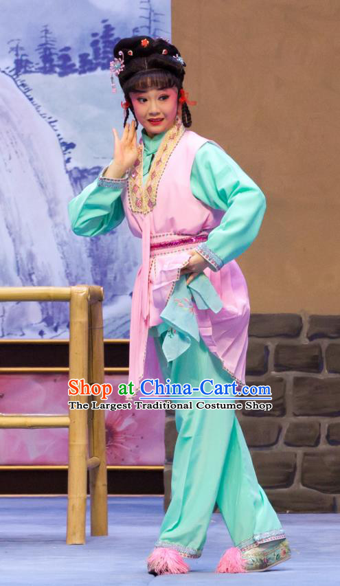 Chinese Ping Opera Hua Tan Fei Jie Apparels Costumes and Headpieces Traditional Pingju Opera Young Lady Dress Garment